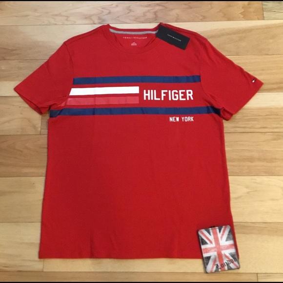 f3d0ad3cc Tommy Hilfiger Shirts | Nwt New York Red Stripe Logo T | Poshmark